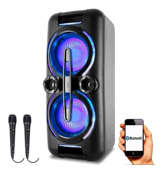 Caixa Som Portátil Bluetooth Philco Pcx8000 500w 2 Microfone