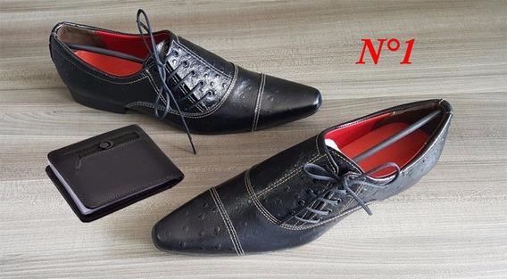 Sapatos Social Masculino Couro Sintético Preto, Azul