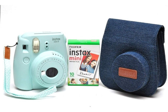 Kit Instax Mini 9 Bolsa Jeans E 10 Poses Azul Aqua