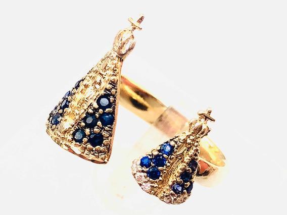 Anel Feminino Nossa Senhora Aparecida Ouro Safira Diamantes