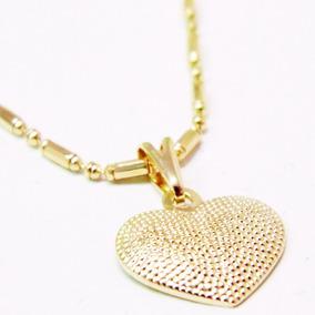 Colar Feminino Lindo De Coração Banhado A Ouro 18k+brinde