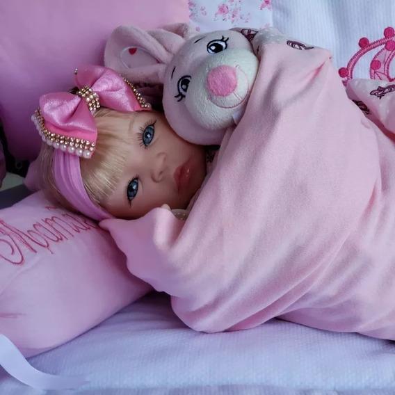 Bebe Reborn Baby Princesa Loira Linda Saída Maternidade Rosa