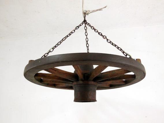 Lustre Luminária Roda Antiga De Carroça Tam. Peq. - B1