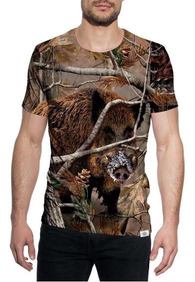 Camiseta Camisa Javali Caça Camuflado Pcp Carabina Caçador