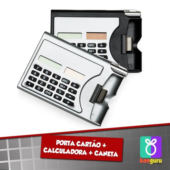 200 Und Porta Cartão De Visitas C/ Calculadora E Caneta