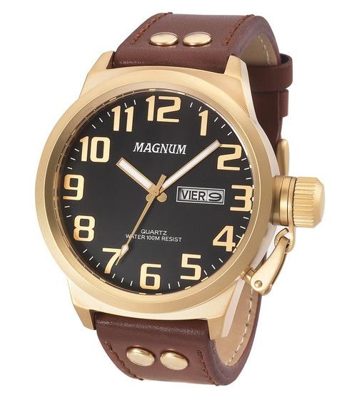 Relógio Magnum Masculino Ma32952p Dourado Couro Marrom