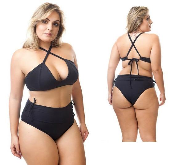 Biquíni Bikini Plus Size Sem Bojo Cintura Alta Regulável