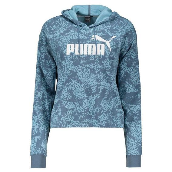 Moletom Cropped Puma Hoody Feminino Azul