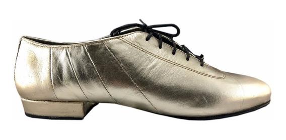 Zapatos De Baile Hombre Tango Salsa Rock Flex Cuero Dorado