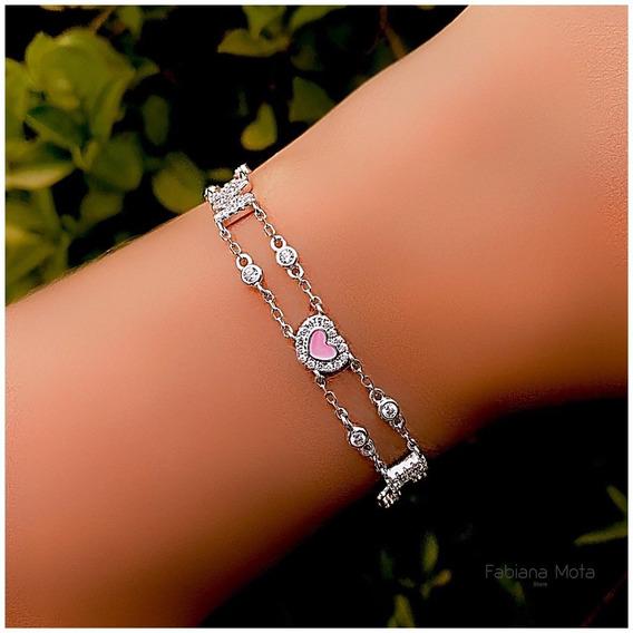 Pulseira Prata 925 Amore Coração Esmaltado Rosa