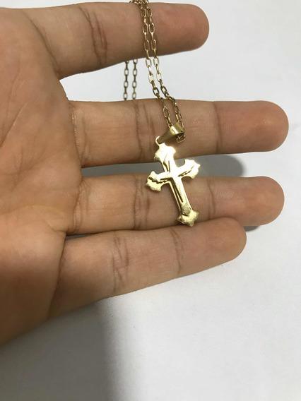 Corrente Com Crucifixo Em Camadas Aço Dourado