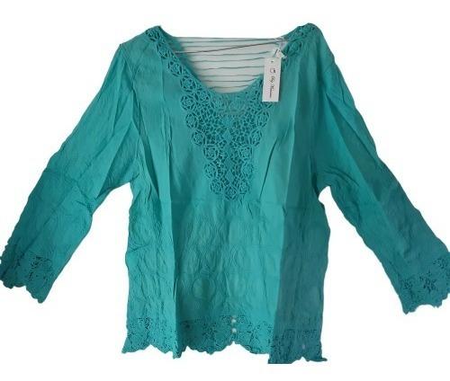 Blusa Importada, Ss20 -crochet, Encaje, Algodón