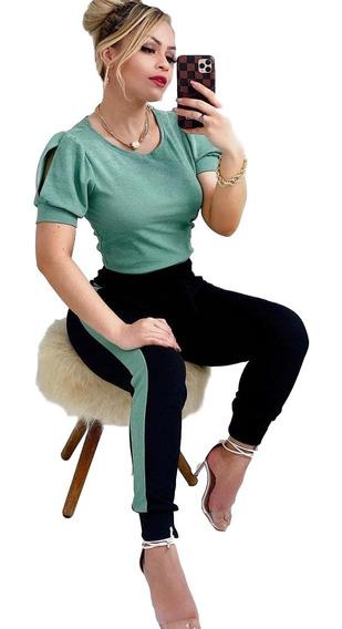 Conjunto Calça E Blusa Moletom Moletinho Crepe Feminino Moda