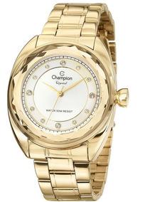 Relógio Champion Dourado Prata Pedras Diamantado Cn27189h