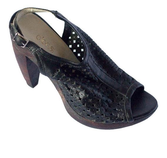 Zapatos De Cuero Boquita De Pescado Taco Simil Madera Clona