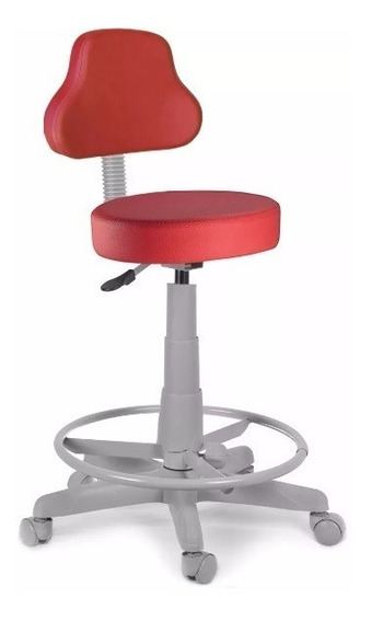 Cadeira Mocho Alto Vermelho Base Cinza Com Aro Estética