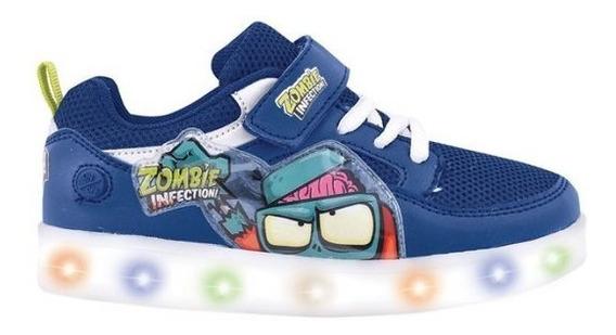 Zapatillas Footy Zombie Infection Azul Con Luz Fty Calzados