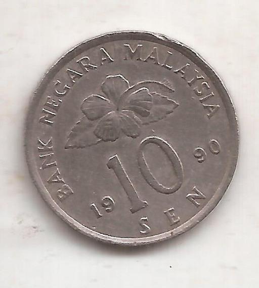 Malasia Hermosa Moneda 10 Sen 1990 !!!!!!!!!!!