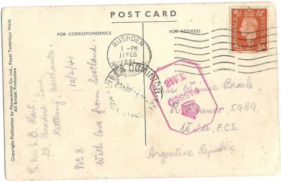 Tarjeta Postal Gran Bretaña A Villa Dominico Con Censura