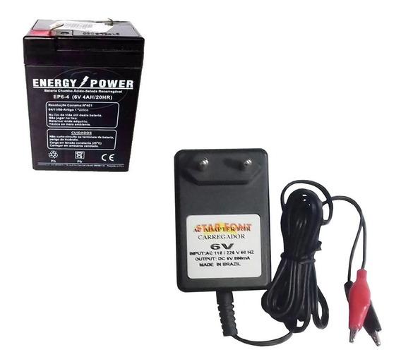 Bateria & Carregador 6v 4ah Motoelétrica Alarme Iluminação