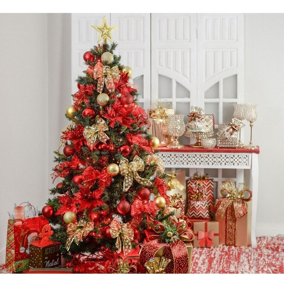Kit Árvore De Natal Decorada 180cm 51 Enfeites + Pisca Pisca