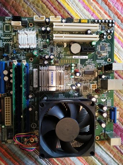 Placa Mãe 945gz7mc Soq 775 Dual Core Completa Com Hd E Fonte