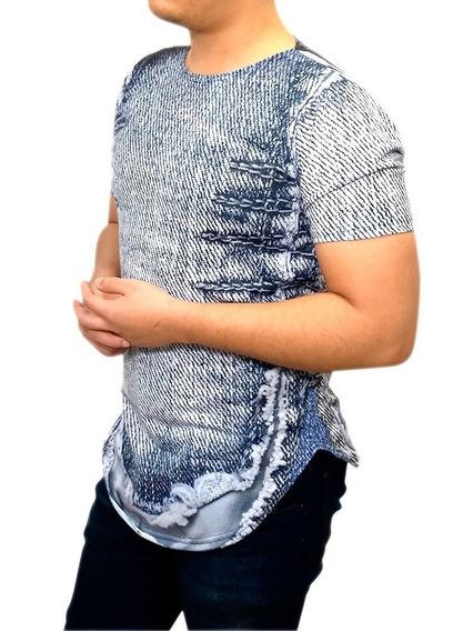 Camisa Camiseta Masculina Estilo Jeans Rasgado E Costurado