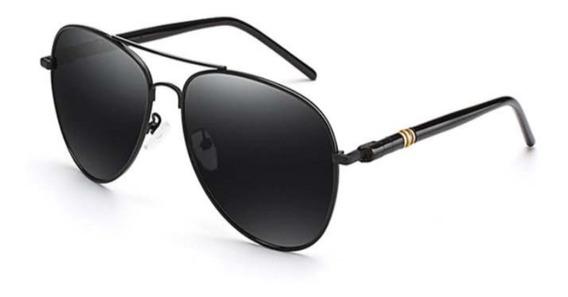 Óculos Sol Masculino Aviador Clássico Armação Ferro Black
