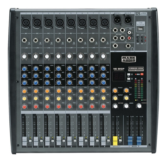 Mixer Mark Audio By Attack - Mesa De Som 8 Canais Cmx08 Usb