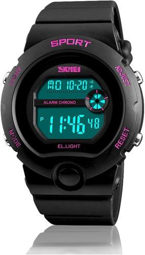 Reloj Dama Deportivo Digital Unisex Negro Fucsia Skmei 50 Mt