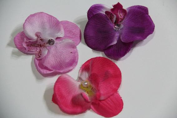 Orquídea Para Cabelo Strass Flores Cabelo Presilha