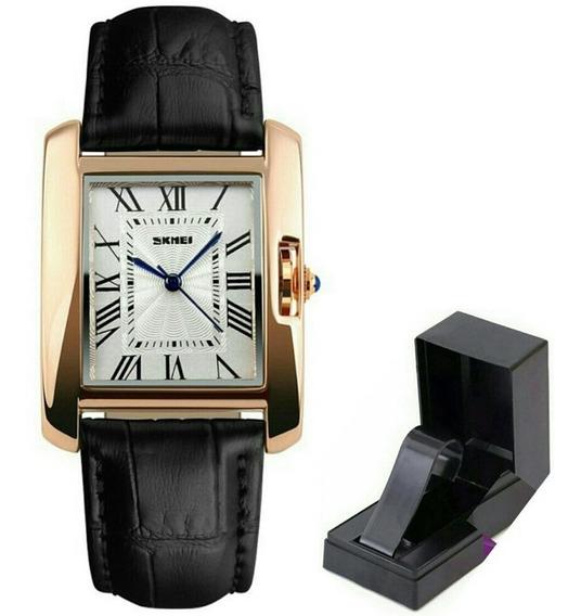 Relógio Skmei De Luxo Original Pulseira Couro Modelo 1085