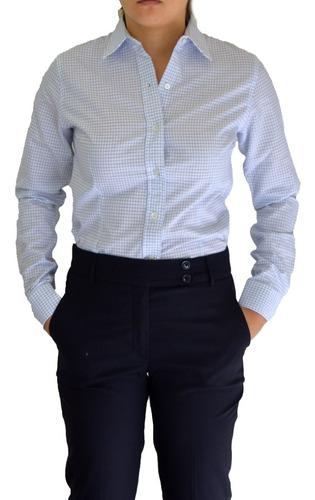 Imagen 1 de 6 de Blusa Cuadros Cielo Uniforme, Oficina, Vestir Manga Larga