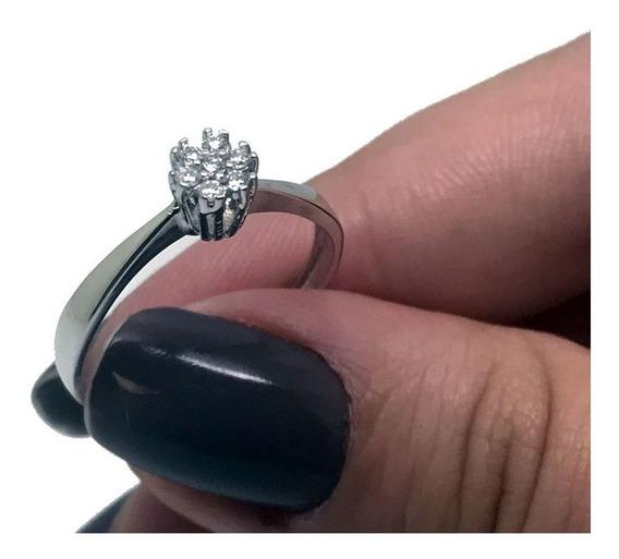 Anel Chuveiro 7 Diamantes Brilhantes Ouro Branco 18k 24323