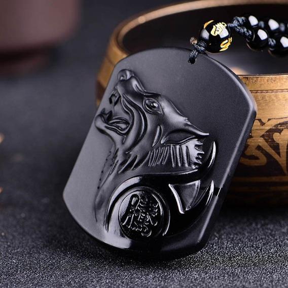 Colar Masculino Lobo Wolf Proteção Força Obsidiana Negra