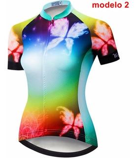 Camisa Blusa Ou Bermuda Bretelle Feminina Ciclismo Bike Peça