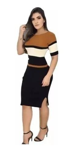 Vestido Curto De Manguinha Cm Fenda Em Tricor Modal Listrado