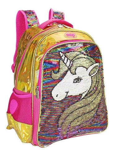 Mochila Lentejuela Reversible Kinder Unicornio Wilys Wk084