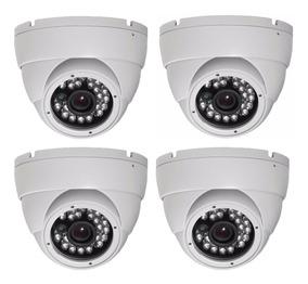 Camera Dome Ccd Infra Vermelho 24 Leds 1000 Linhas Kit 4 Uni