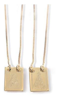 Escapulário Nossa Senhora Aparecida E Sagrado Coração Folheado A Ouro Corrente Veneziana 60cm 5025