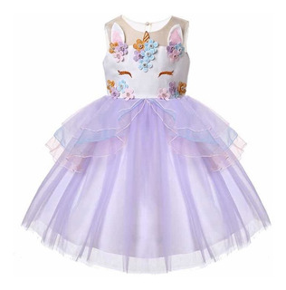 Vestido Unicornio Nina Talla 8 Y 12 Años Color Celeste