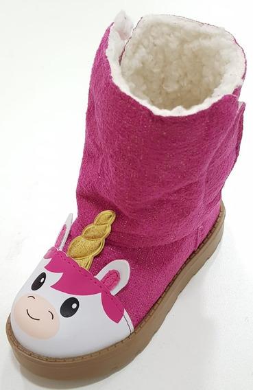 Bota Pelo Unicórnio Forrada Pink Luelua Menina Nº 22 Ao 27