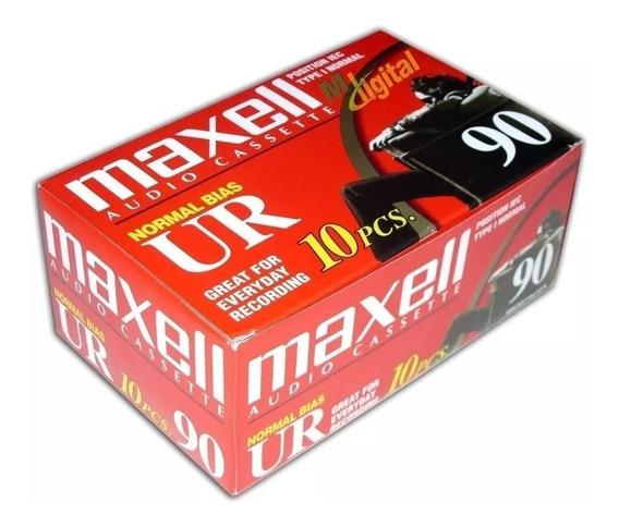 4 Fita Cassete K-7 Maxell Ur90 Audio Cassete Caixa C/10 Fita