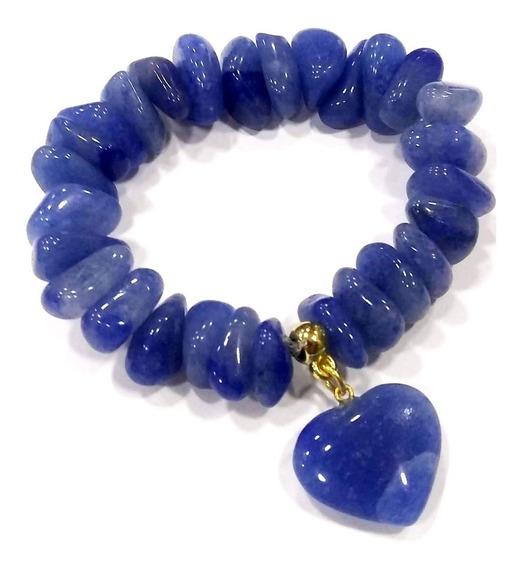 Pulseira De Quartzo Azul C/ Coração Pedra Da Cura Emocional