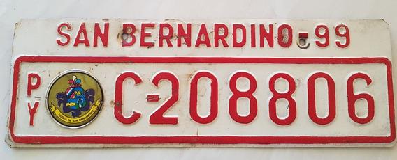 Placa Carro Antiga Ferro Paraguai San Bernardino C-208806