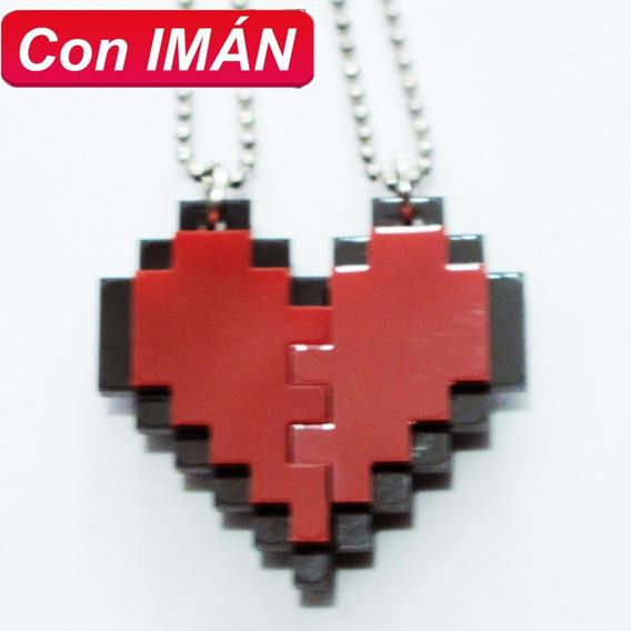 Collares Corazón Pixel Con Imán Amor O Amistad