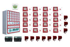 Kit Alarme De Incêndio 20 Acionadores 10 Sirenes E Baterias