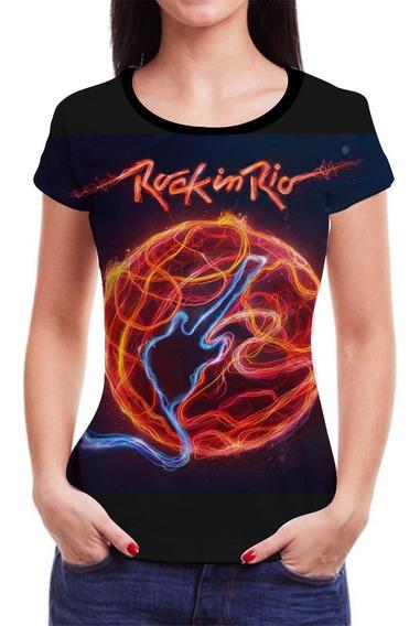 Camiseta Camisa Rock In Rio Roll Feminina Baby Look Blusa