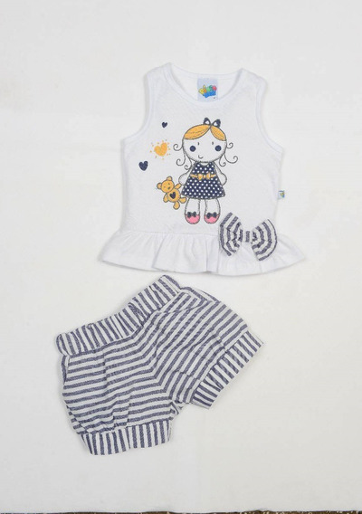 Conjunto Bebê Menina Pingo Doce Blusa E Shorts Listrado
