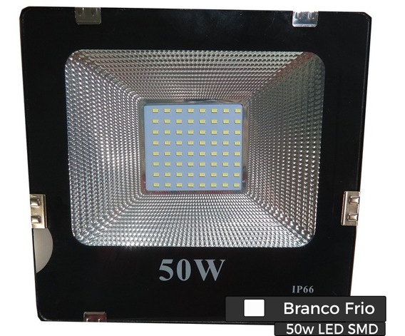 Refletor Led Smd 50w Bivolt - Branco Frio 6500k
